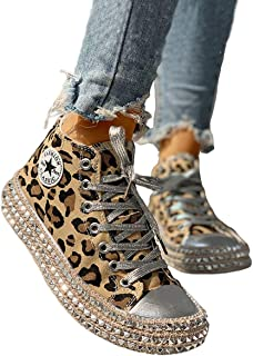 DUBACH Women Fashion Leopard Rivet Embellished Lace-Up Sneakers Size 9.5
