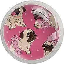 FURINKAZAN Kast Knop Pull Handvat Pug Hond Roze 4-Pack Keuken Kastdeur