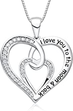FANCYCD Holiday Deals Week I Love You to The Moon and Back Love Heart Necklace, Jewelry for Women & Girls, Gifts for Girlfriend, Wife, Sister, Grandma, Mom