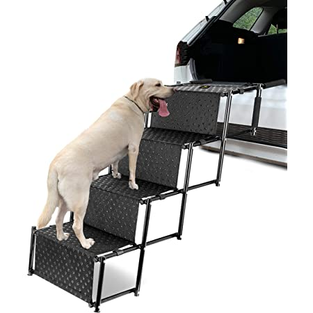 Black Hopwin Foldable Pet Stairs 2 Steps Foam Pet Steps Stairs Ramp for Cats and Dogs Removable Ladder Up to 150 Pounds