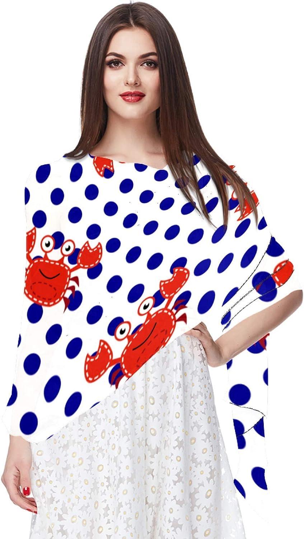 Cartoon Crabs And Dots Women Soft Chiffon Pashmina Shawl Wrap Scarf for Bridesmaid Wedding Formal Party Evening Dress