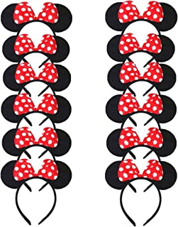 DreamHigh Minnie Mouse Ear and Red Bow Headband for Girls Birthday Costume Party (Set of