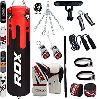 RDX Punching Bag 13 Piece Boxing Set 4FT 5FT Unfilled Heavy Bag Gloves Ceiling Hook Chains...