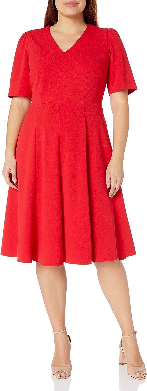 Donna Morgan Women's Plus Size Stretch Crepe Mock Wrap Dress