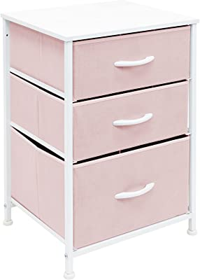 Sorbus Nightstand with 3 Drawers - Furniture Storage Chest Tower Unit for Bedroom, Hallway, Closet, Office Organization - Steel Frame, Wood Top, Pastel Fabric Bin (Pink)