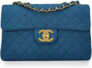 219be94c305 ... Bag for Women · Check it out. CHANEL Blue Quilted Linen Half Flap Maxi  (Pre-Owned)