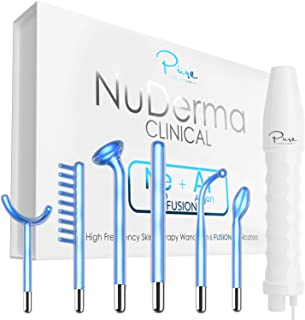 NuDerma Clinical Skin Therapy Wand - Portable Handheld High Frequency Skin Therapy Machine w 6 FUSION Neon + Argon Wands - Natural Acne Treatment - Skin Tightening - Wrinkle Reducing - Facial Skin