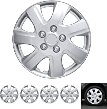 """BDK Wheel Guards – (4 Pack) Hubcaps for Car Accessories Wheel Covers Snap Clip-On Auto Tire Rim Replacement for 16 inch Wheels 16"""" Hub Caps (Textured Original 1021)"""