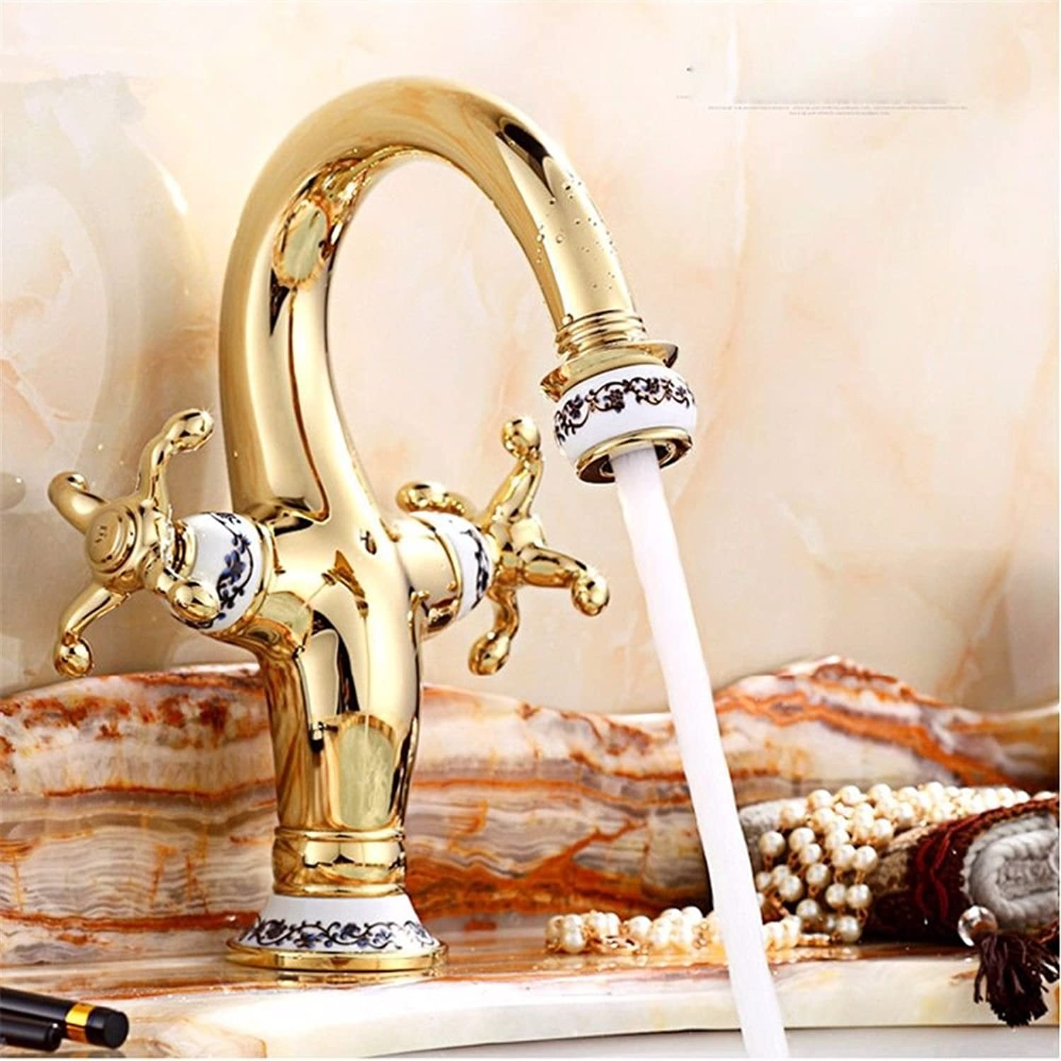 Fbict European Antique Basin Hot and Cold Water Faucet gold Single Hole bluee and White Porcelain Bathroom for Kitchen Bathroom Faucet Bid Tap