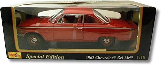 Maisto Special Edition Red 1962 Chevrolet Bel Air 2 Door Hard Top 1:18 Scale Die Cast Model Car