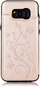 SONWO Case for Galaxy Plus  Leather Case Flip Butterfly Flower Pattern Durable Back Wallet Cover with Two Magnetic Clasp and Card Slots for Samsung Galaxy Plus  Gold
