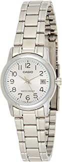 Casio Women's Quartz Watch, Analog Display and Stainless Steel Strap Ltp-V002D-7Budf, Silver Band