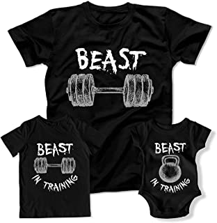 673d757e Beast Workout Beast in Training Family Matching Outfits Workout Shirts Gym  DN-750-51