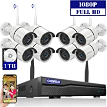 【2020 New】 Security Camera System Wireless, 8 Channel 1080P NVR with 1TB Hard Drive, 8PCS 1080P CCTV Cameras for Homes,OHWOAI HD Surveillance Video Security System,Outdoor Wireless IP Cameras