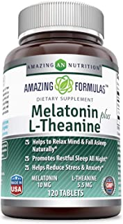 Amazing Nutrition Amazing Formulas Melatonin plus L-Theanine Dietary Supplement - 10 mg - 120 Tablets - (Non-GMO, Gluten F...