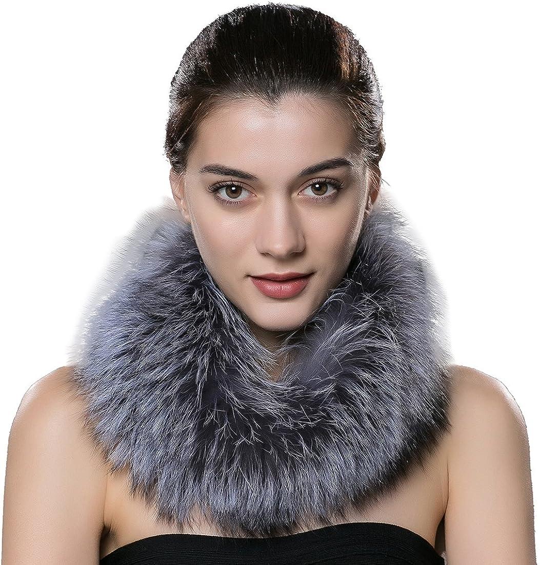 URSFUR Women's Winter Warm Neck Fur Scarf Real Fox Collar Fur Cowl Multicolor