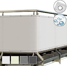 Sol Royal SolVision Balkonscherm 90x300ccm - Ondoorzichtige Balkondoek Wit - Windscherm met Ogen en Snoer - Balkonafdekkin...