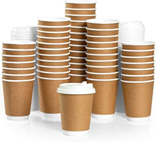 50 Pack of Disposable Coffee Cups with Lids - 12 oz Double Wall Paper Coffee Cups to Go - Insulated & Recyclable - No Need for Sleeves