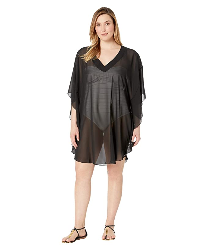 Maxine of Hollywood Swimwear Plus Size Solid Chiffon Caftan Cover-Up (Black) Women