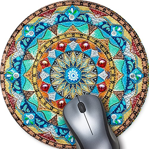 Beautiful Oil Painting Watercolor Style Mandala Flower Background, Non-Slip Rubber Round Mouse Pad Perfect for Working and Gaming