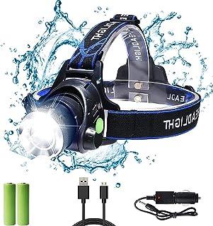 Bizcasa LED Linterna Frontal, Super Brillante Linternas frontales Zoomable Recargable 1000 Lúmenes 3 modos para Camping,Ca...
