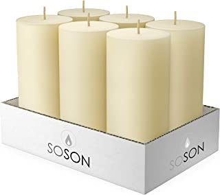 Simply Soson 3 x 6 Inch Ivory Unscented Pillar Candle Bulk Set - Dripless, Scent Free Paraffin Wax Candle Pillars - Medium Size Wedding or Home No Drip Candles - 6 Pack