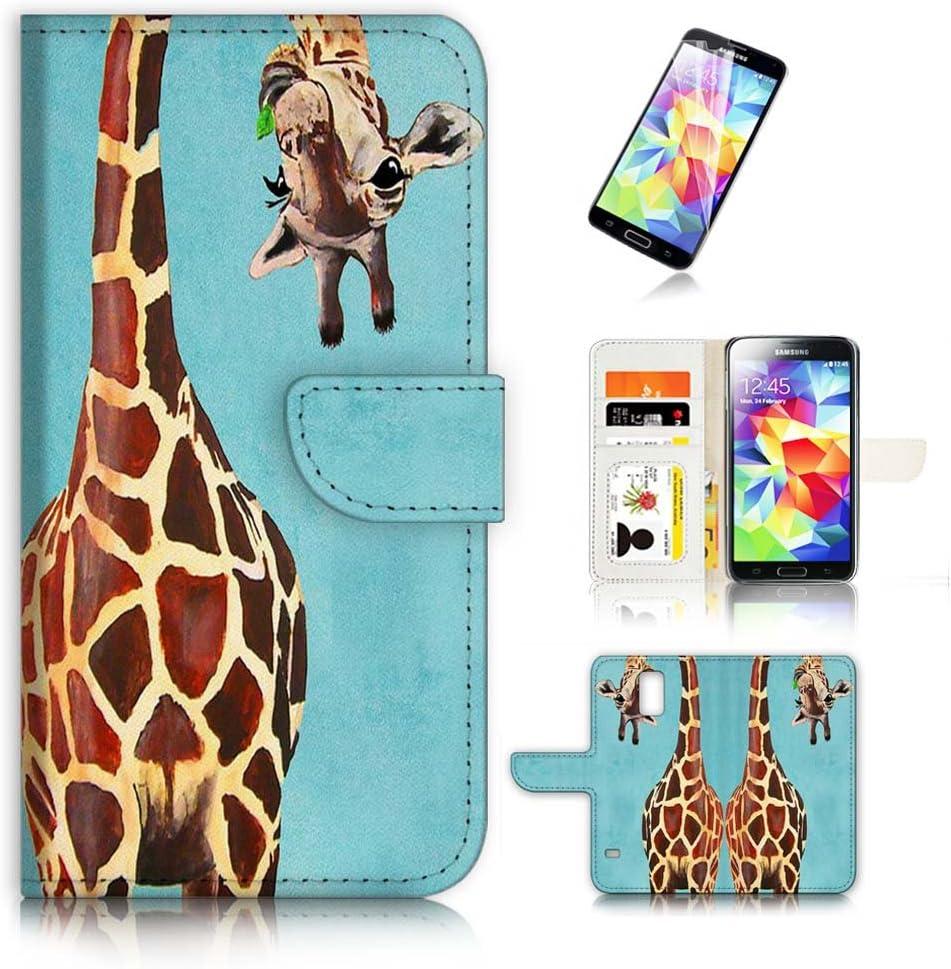 (for Samsung Galaxy S5) Flip Wallet Case Cover & Screen Protector Bundle! A4131 Giraffe