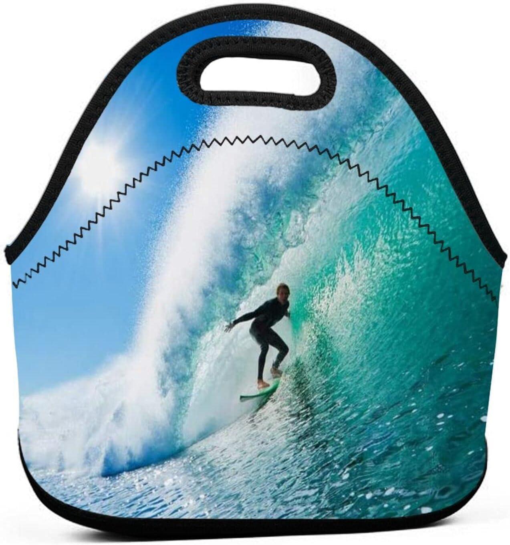 ADONINELP Bolsa de almuerzo Bolsa Bento portátil,tabla de surf para surf,paquete de neopreno con cremallera para la escuela,trabajo,oficina,bolso de viaje