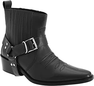 Woodland Mens Low Clive Leather Western Ankle Boots