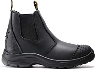 diig Work Boots for Men, Steel Toe Waterproof Working Boots, Slip Resistant Anti-Static Slip-on Safety EH Working Shoes 6 8 9 10 11 12 13 (Black)