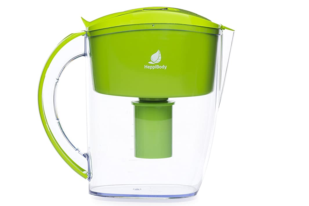 Heppi Alkaline Water Pitcher, High Ph 8.5-10.3, 10 Cup, with 1 Filter, BPA Free (Green)
