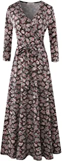 Aphratti Women's Fall Casual Faux Wrap V Neck Floral Long Maxi Dress