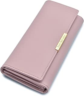 Soft Leather Trifold Multi Card Holder Wallet, Elegant Clutch Long Purse for Women Ladies