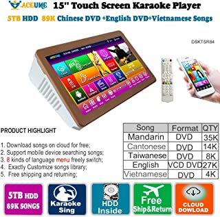5TB HDD 89K Chinese+ English +Vienamese DVD Songs 15.6'' Touch Screen Karaoke Player,Songs Machine, Jukebox,Select songs via Touch Screen Monitor and Mobile device