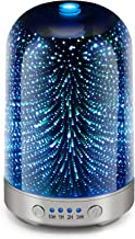 Essential Oil Diffuser 3D Glass Galaxy Aromatherapy Diffuser 120ml Aromatherapy Oil Cold Mist Humidifier 7-color LED Light Cycle Changing Automatic shut Off Without Water Home Office Yoga SPA Baby