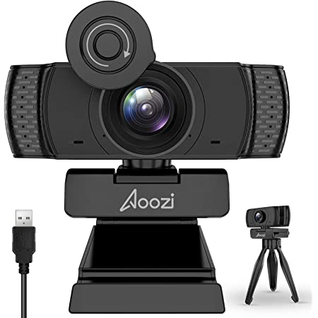 Aoozi Webcam with Microphone, Webcam 1080P USB Computer Web Camera with Facial-Enhancement Technology, Widescreen Video Calling and Recording, Streaming Camera with Tripod (Renewed)