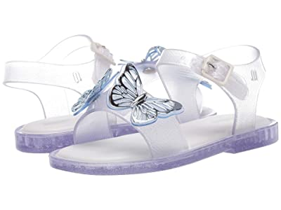 Mini Melissa Mar Sandal Fly BB (Toddler/Little Kid) (Silver Glitter) Girl