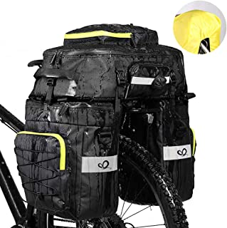 Waterfly Bike Bag Bike Pannier Bag Waterproof Bike Saddle Bag Shoulder Bag with Rain Cover for Riding Cycling (3 in 1)