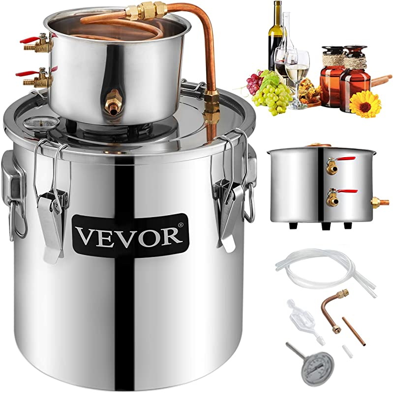 VEVOR Moonshine Still 9 6Gal 38L Stainless Steel Water Alcohol Distiller Copper Tube Home Brewing Kit Build In Thermometer For DIY Whisky Wine Brandy Sliver