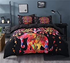 Indian 100% COTTON Duvet Coverlet Tapestry/Hippie Mandala Bohemian Cotton Bedding Comforter Set/Traditional Print Quilt Blanket Bed Sheet/Queen Bedspread With Two Pillow Cover (Tree Elephant))