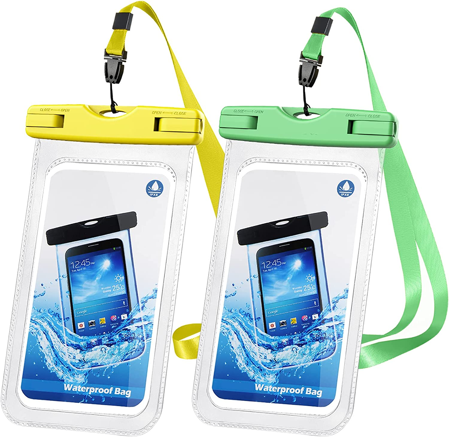 Waterproof Phone Pouch, IPX8 Waterproof Case Dry Bag Waterproof Phone Case, Compatible with 12 Pro Max SE 11 Pro Max XS XR X 8 7 Galaxy Google up to 7.0