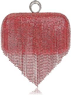 Redland Art Women's Fashion Sparkly Tassel Mini Clutch Bag Wristlet Evening Handbag Catching Purse Bag for Wedding Party (Color : Red)