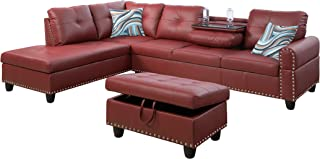 Contemporary Sectional Sofa Couch w/Chaise & Storage Ottoman|3PCs L-Shaped Sectionals Living Room Furniture|Faux Leather Upholstery w/Cup Holders Drop-Down Table|Memory Foam Cushion(RedLeftFacing)