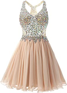 ANNA&CHRIS Womens Mini Party Dress Beading Evening Bridesmaid Homecoming Gown