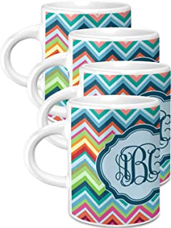 Retro Chevron Monogram Espresso Cups - Set of 4 (Personalized)