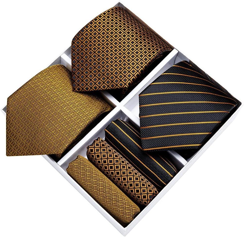 LQGSYT Classic 8cm Men's Ties 3 Pack Tie Handkerchief Cufflinks Set Gift Box Gold Black Business Necktie Gift for Men (Color : Gold Black, Size : One Size)