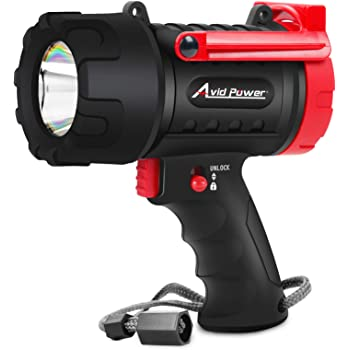 Waterproof Spotlight Rechargeable Flashlight Handheld with 3 Light Modes, USB Cable, Wall Charging, 900 Lumen LED, Lightweight and Durable, Avid Power