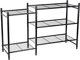 3-Tier Sturdy Durable Lifestyle Home Metal Shoe and Boot Rack Organizer in Black Finish, Holds Up To 9 Pairs Of Shoes or Hold 2 Pairs of Boots Upright