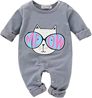 Baby Boys Girls Jumpsuits Long Sleeve Cute Cartoon Cat with Sunglasses Print Romper Jumpsuit Outfits