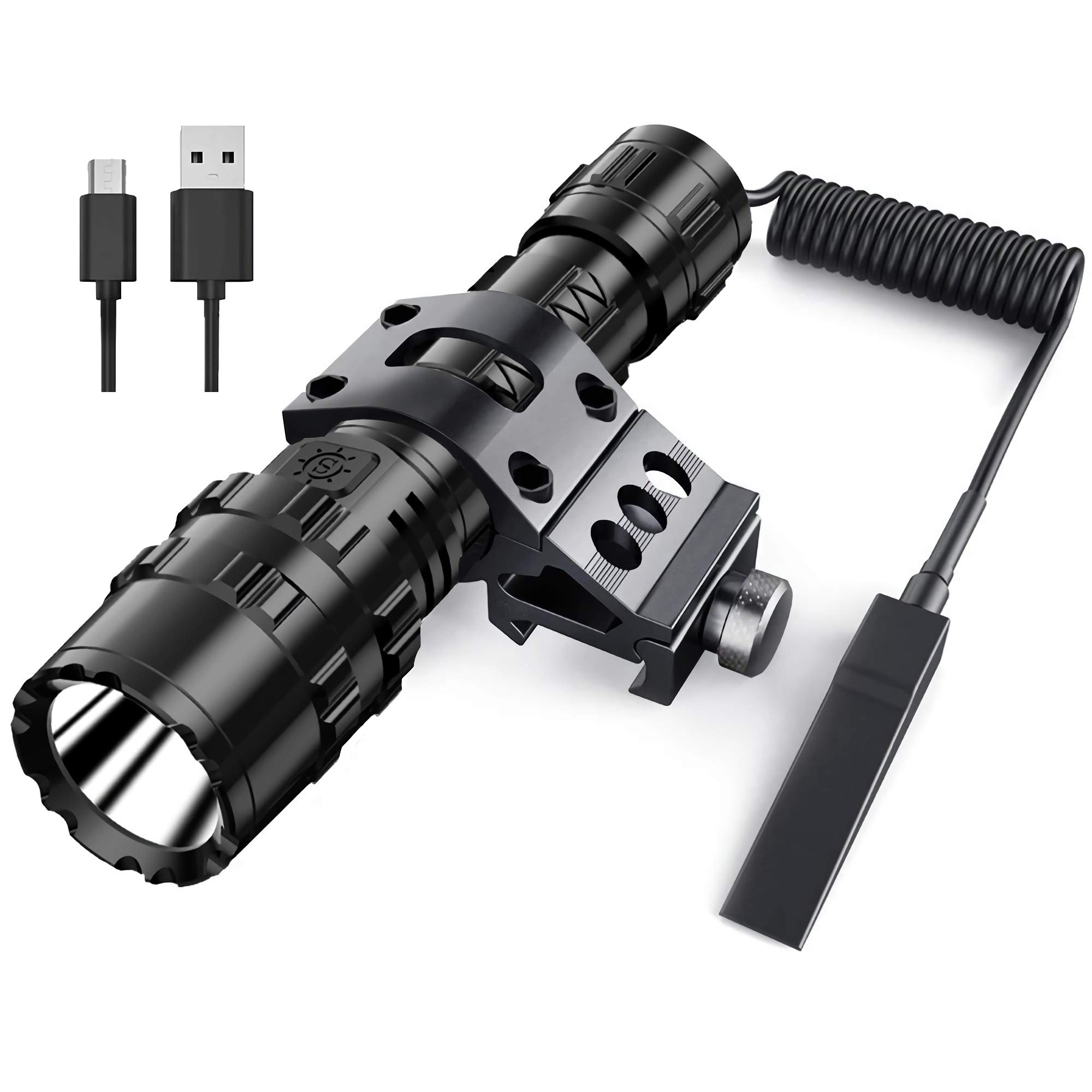 POVAST Tactical Flashlight Rechargeable Pressure